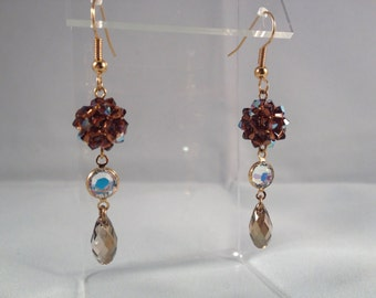 Chocolate brown with topaz and gold crystal drop earrings
