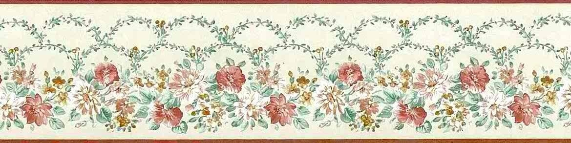 Cream green floral wallpaper border vines by john wilman for Bordi carta da parati