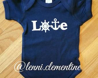 Love Anchor Infant Bodysuit - Anchor Baby Clothes - Nautical Baby Clothes - Boating Baby Clothes - Anchor Toddler Clothes - Nautical Toddler