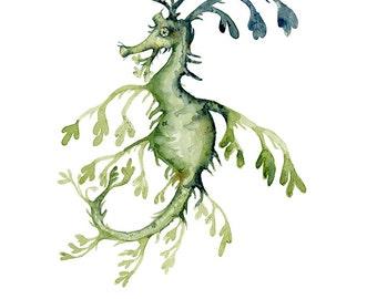 Watercolor Painting Seahorse Leafy Ocean Creature Archival Print 5x7