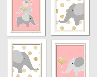 Pink and gold nursery, Pink and gold baby shower, Coral and gold nursery, Nursery Quad, Elephant Nursery Art, Set of 4 8X10, pink, gold