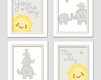 Elephant Nursery, Yellow and Grey Nursery, You are my sunshine, Elephant Nursery, Giraffe Nursery, Set of 4 8X10, Yellow, Grey