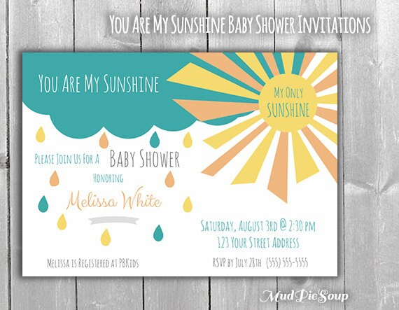 you are my sunshine baby shower invitations by mudpiesoup on etsy