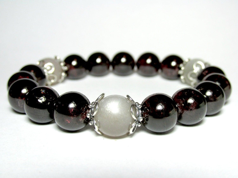 garnet and moonstone bracelet beaded bracelet stretch
