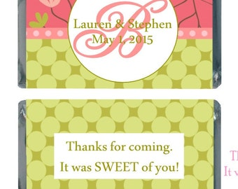 90 Pink and Green Personalized Wedding Candy Labels