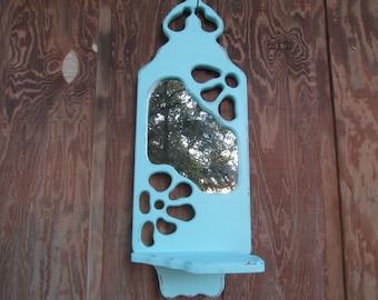 Shabby chic mirror, Turquoise aqua Mirror, wall decor, Mirror Shelf,solid wood frame,vintage mirror,boho decor,
