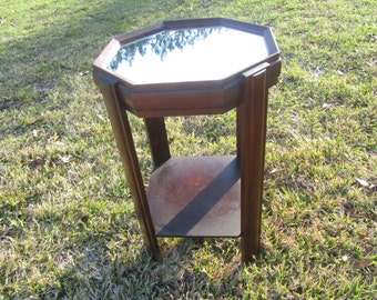 Vintage Mirror Top Side Table, Art Deco Side Table, Octagon Table, Nightstand, Vintage Side Table, End Table, Furniture,