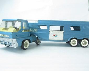Structo Truck Turbine, Vista Dome Horse Van, metal truck, collectible toy, Blue Metal Truck