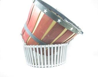Americana,vintage basket,Baskets, summertime,Farm fresh, farmhouse,wood Item,Red,Blue, Gathering Basket, Orchard basket,Vegetable Basket