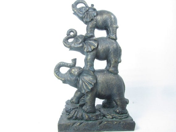 Elephants Statue Figurine Home Decor Interior