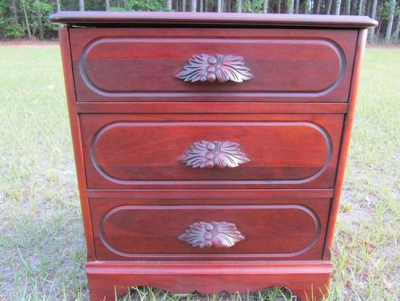 Antique Nigntstand End Table Vintage Wood Side Table Solid