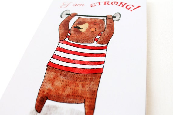 I am strong card with circus bear lifting weights, retro illustration with a moustache bear with a striped tank in red and white