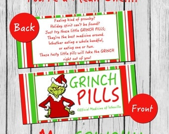 Grinch Pills DIY/PRINTABLE Treat Bag Toppers