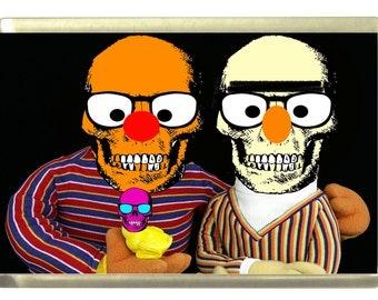 Bert and Ernie Skull Fridge Magnet 7cm by 4.5cm