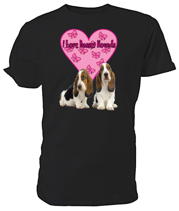 I Love Basset Hounds Dogs T shirt. classic round neck short sleeved choice of sizes and colours