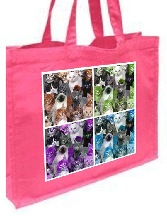 Pop Art Cats Cotton Shopping Bag with gusset and long handles, 3 colour options