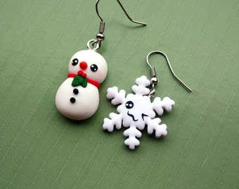 Snowman and snowflake Earrings - Handmade in Polymer Clay