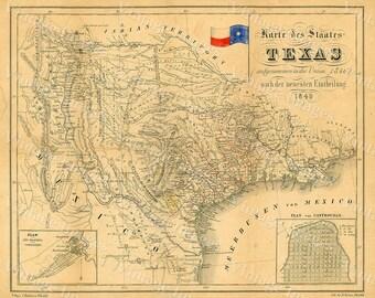 1849 Map of Texas Old Texas Map, TEXAS, Map of Texas, Vintage Map, Restoration Hardware Style Texas Wall art German Map Of Texas Wall Art