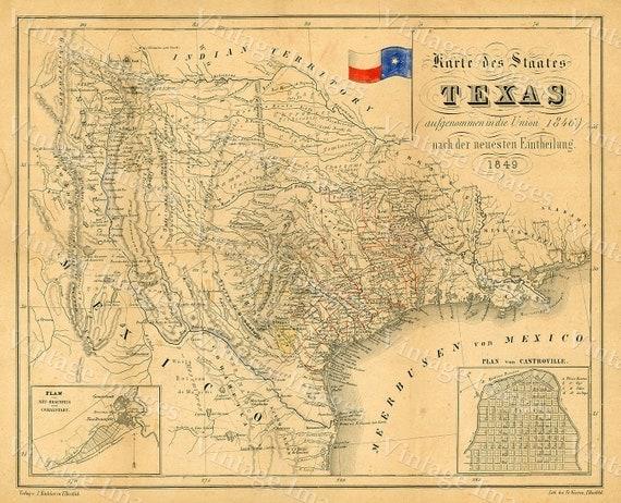1849 Map Of Texas Old Texas Map Texas Map Of Texas Vintage