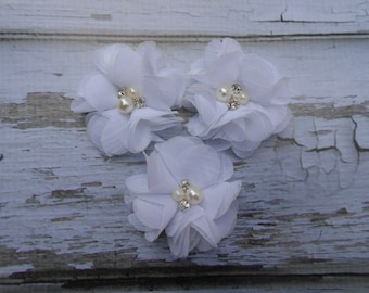 """Set of 3  2""""  white  chiffon flowers adorned with pearls and rhinestones mini"""