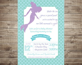 mermaid baby shower invitation etsy