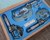 Industrial Prop - Vintage - Jewelry Maker Tool - Set of 3 Digital Outside Micrometers - Fowler MICROMETER - New - Never Used - Japan