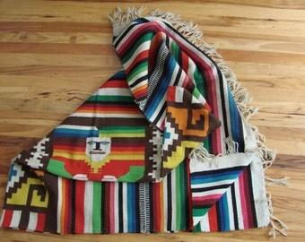 Large Colorful Mayan Aztec Throw Rug/Folk/Tribal/Ethnic/Wall Hanging