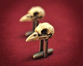 Raven Skull Cufflinks - Hand made realistic replica bird skull cuff links