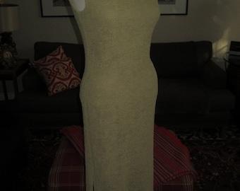 Stunning Vintage Joseph Ribkoff Crinkle Cap Sleeve Olive Green Dress , Size 8