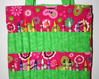 Pink and Green Butterfly Crayon Bag