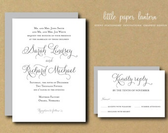 Printable Wedding Invitation Template - Custom DIY Wedding Invitation Suite - Sweet Amor