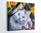 MINIATURE Cat painting, Oil painting, miniature 4x4i,  kids room decor, desk decor, gift idea, mother's day,  Pet lovers, pet portrait, art,