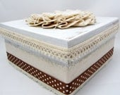 Shabby Chic Gift Box - Keepsake Box - Rustic Chic Box - Altered Box - Canvas Accents - Shabby Chic Box - Wedding Gift Box - Ivory and Brown