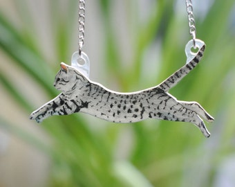 Leaping Grey Tabby Cat Necklace - Hand Drawn Shrink Plastic