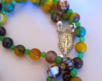 CONFIRMATION GIFT RAINBOW Agate Rosary, First Communion Gift, Baptism, Sterling Silver Rosary, Catholic Religious Gifts