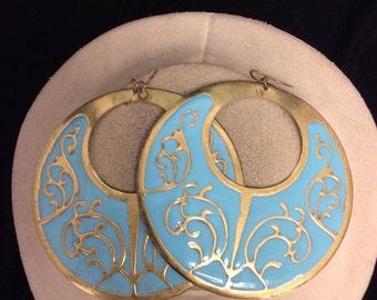 Vintage Large Blue Enameled Dangle Earrings