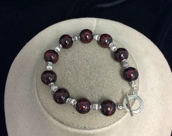 Vintage Red & Black Glass Beaded Toggle Bracelet