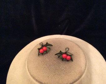 Vintage Holly & Berry Earrings