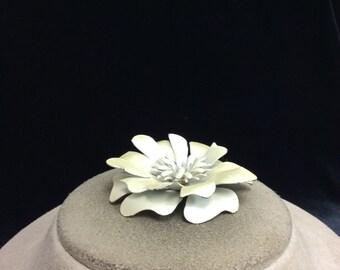 Vintage 3-D Pearlized Enameled Petal Floral Pin