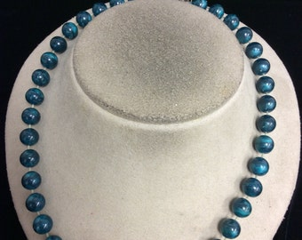 Vintage Shades Of Teal Beaded Necklace