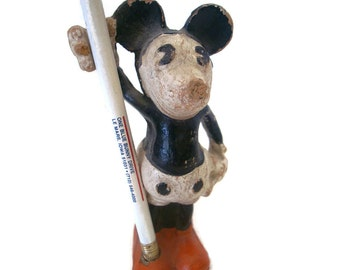 Vintage  Mickey Mouse pencil holder, 1930s Dixon Ent. composition, original paint