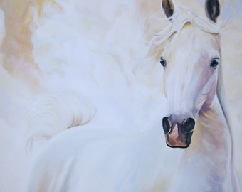 fine art horse print 12x18 beautiful arabian horse equine giclee print home decor elegant white gray horse