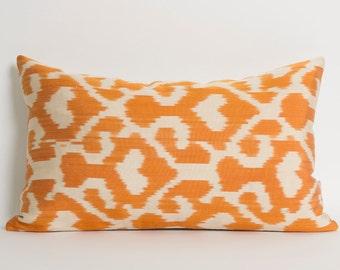Orange Ikat Pillow Cover - Decorative Throw Pillows - Orange Silk Pillows - Couch Pillow - Silk Pillow - Tribal Pillow - Ethnic Pillow