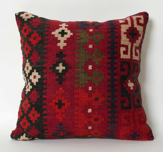 Red Kilim Pillow Cover Antique Turkish Pillows Kilim