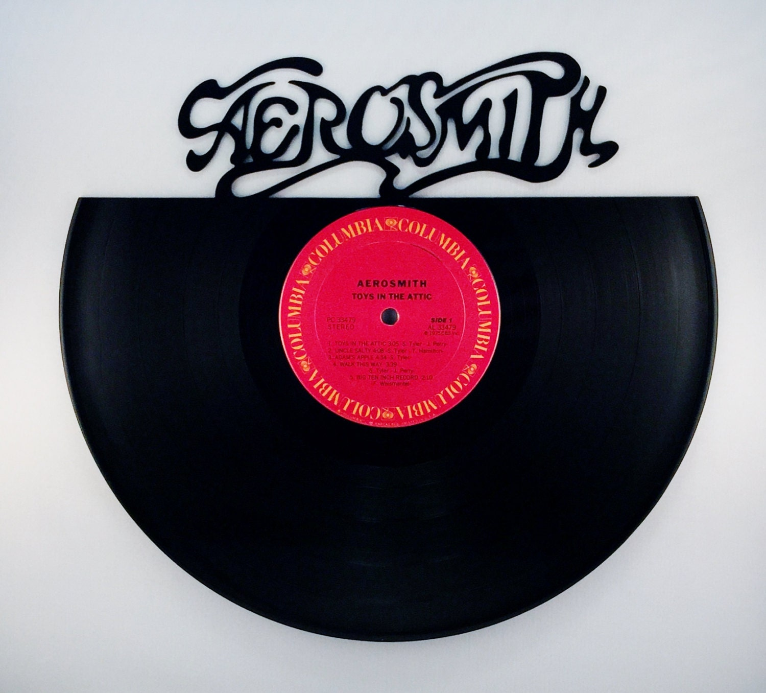 Recycled vinyl record aerosmith wall art for Vinyl record wall art