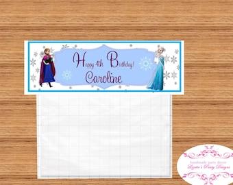 8- FROZEN Elegant Goodie Bag folded card Personlized Labels