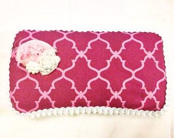 Shabby chic pink and white baby wipe case, baby wipe clutch