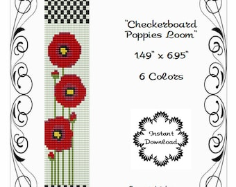 LOOM OR SQUARE Stitch Pattern - Peyote Pattern - Poppies - Red Poppies - Miyuki Delicas - Checkerboard - Floral Pattern-Flower Loom Pattern