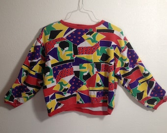 Vintage Womens Crop Top 3/4 Sleeve Pasta Shirt Size Small