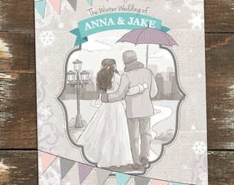 Winter Couple Illustrated Wedding Invitation Printable DIY
